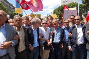Trade union leaders at the May 1st 2012 protest in Tunis, Tunisia